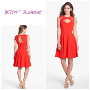 Betsey Johnson red cut out flare dress size 6